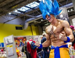 Goku in his Supersaiyen Blue form from Dragon Ball